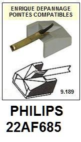 PHILIPS 22AF685  <br>Pointe diamant sphérique pour tourne-disques (stylus)<SMALL> 2015-12</SMALL>