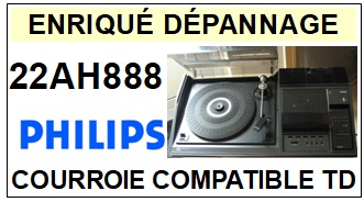 <strong>PHILIPS 22AH888 </strong> <BR>courroie d\'entrainement tourne-disques (<b>square belt</b>)<small> 2018 MAI</small>