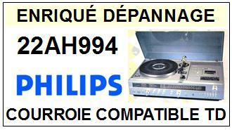 PHILIPS 22AH994 <BR>courroie d\'entrainement pour tourne-disques (<b>square belt</b>)<small> 2016-01</small>