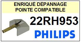 PHILIPS 22RH953 <br>(2°montage) Pointe sphérique pour tourne-disques (stylus)<small>l 2014-12</small>