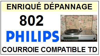 PHILIPS 802 <br>Courroie carrée pour Tourne-disques (<b>square belt</b>)<small> 2016-01</small>