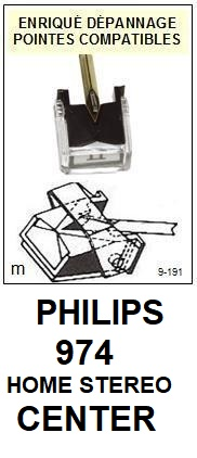 PHILIPS<br> 974 HOME STÉRÉO CENTER Pointe (stylus) diamant elliptique<small> 2015-10</small>