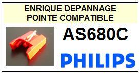 PHILIPS AS680C <br>Pointe diamant sphérique pour tourne-disques (stylus)<SMALL> 2015-12</SMALL>