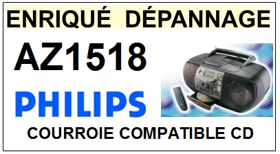 PHILIPS AZ1518  <br>Courroie pour lecteur CD (Cd player square belt)<small> 2016-01</small>