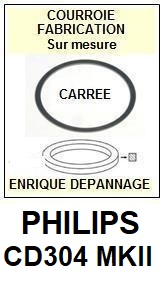 PHILIPS CD304MKII  <br>Courroie pour lecteur CD (<b>Cd player square belt</b>)<small> 2018  JANVIER </small>