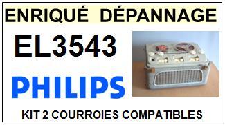 PHILIPS EL3543  <br>kit 2 courroies pour magnétophone (<b>set belts</b>)<small> 2018 JANVIER</small>
