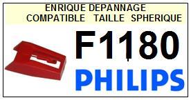 PHILIPS F1180  <br>Pointe diamant sphérique pour tourne-disques (stylus)<SMALL> 2015-11</SMALL>