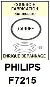 PHILIPS F7215  <BR>courroie d'entrainement tourne-disques (<b>square belt</b>)<small> 2017 NOVEMBRE</small>
