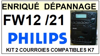 PHILIPS FW12/21  <BR>kit 2 courroies pour platine k7 (<b>set belts</b>)<small> 2018 MARS</small>