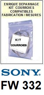 PHILIPS FW332  <BR>kit 4 courroies pour platine k7 (<b>set belts</b>)<small> 2016-01</small>