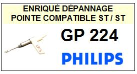 PHILIPS<br> GP224  Pointe (stylus) Diamant réversible (stereo/stereo)<small> 2015-09</small>