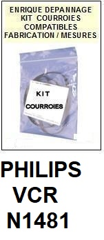 PHILIPS N1481 VCR <br>kit 3 courroies pour magnétoscope (<b>vidéo recorder set belts</B>)<small> 2018 AVRIL</small>