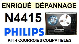 PHILIPS N4415  <br>kit 4 courroies pour magnétophone (<b>set belts</b>)<small> 2017 OCTOBRE</small>