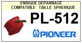 PIONEER PL512 PL-512 <BR>Pointe sphérique pour tourne-disques (stylus)<small> 2015-10</small>