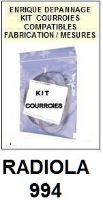 RADIOLA 994  <BR>kit 3 courroies pour platine k7 (<b>set belts</b>)<small> 2016-01</small>