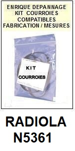 RADIOLA N5361  <BR>kit 2 courroies pour platine k7 (<b>set belts</b>)<small> 2017 DECEMBRE</small>