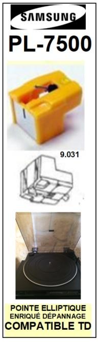 SAMSUNG<br> PL7500 PL-7500 Pointe (stylus) elliptique pour tourne-disques <BR><small>se 2015-07</small>