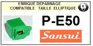 SANSUI PE50 P-E50 <bR>Pointe diamant elliptique pour tourne-disques (stylus)<SMALL> 2015-11</small>