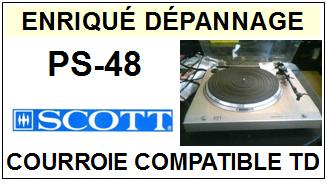 SCOTT PS48 PS-48 <br>Courroie pour Tourne-disques (<b>flat belt</b>)<small> 2016-01</small>