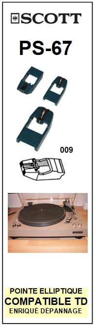 SCOTT PS67 PS-67 <bR>Pointe diamant elliptique pour tourne-disques (stylus)<SMALL> 2015-10</small>