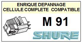 SHURE M91  Cellule de remplacement  avec diamant Sphérique