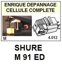 SHURE<br> M91ED M-91ED Cellule (cartridge)avec diamant Elliptique<br> <SMALL>se+celre 2015-05</small>