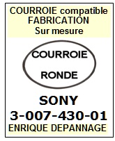 SONY 300743001 3-007-430-01 <br>courroie référence sony (round belt belt manufacturer number)<small> 2015-11</small>