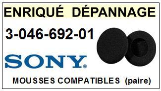 SONY  304669201  3-046-692-01  mousse compatible casque (vente par paire)<br>a