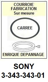 SONY 334334301 3-343-343-01 <BR>Courroie carrée référence sony (<B>square belt</B> manufacturer number)<small> 2017 NOVEMBRE</small>