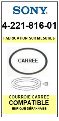 SONY 422181601 4-221-816-01 <BR>Courroie carrée référence sony (<B>square belt</B> manufacturer number)<small> 2017 NOVEMBRE</small>