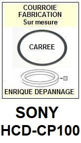 SONY HCDCP100 HCD-CP100 <br>Courroie pour lecteur CD (<b>Cd player square belt</b>)<small> 2017 NOVEMBRE</small>