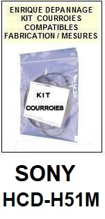 SONY HCDH51M HCD-H51M <BR>kit 4 courroies pour platine k7 (<b>set belts</b>)<small> 2018 MARS</small>