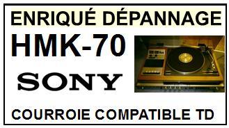 SONY HMK70 HMK-70 <br>courroie d\'entrainement pour tourne-disques (flat belt)<small> 2016-01</small>