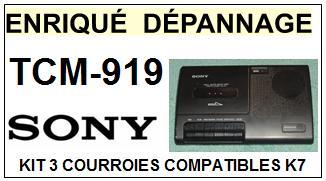 SONY TCM919 TCM-919 <br>kit 3 Courroies Platine K7 (set belts)<small> 2016-01</small>