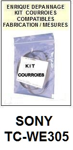 SONY TCWE305 TC-WE305 <br>kit 5 Courroies Platine K7 (set belts)<small> 2016-01</small>