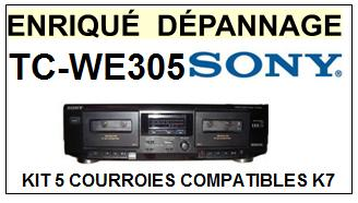 SONY TCWE305 TC-WE305 <br>kit 5 Courroies Platine K7 (set belts)<small> 2016-01</small>