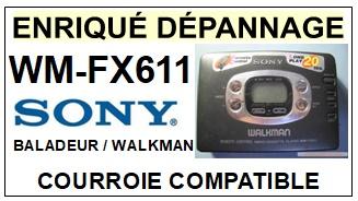SONY WMFX611 WM-FX611 <br>Courroie pour baladeur walkman k7 (<B>square belt</B>)<small> 2017 DECEMBRE</small>