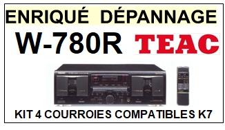 TEAC TASCAM W780R W-780R <BR>kit 4 courroies pour platine k7 (<b>set belts</b>)<small> 2018 JANVIER</small>