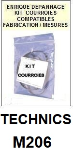 TECHNICS M206  <BR>kit 4 courroies pour platine k7 (<b>set belts</b>)<small> 2018 JANVIER</small>