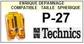 TECHNICS<br> P27 P-27 Pointe (stylus) sphérique pour tourne-disques <small>2015-09</small>