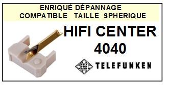 TELEFUNKEN HIFI CENTER 4040 <br>Pointe diamant sphérique pour tourne-disques (stylus)<SMALL> 2015-10</SMALL>