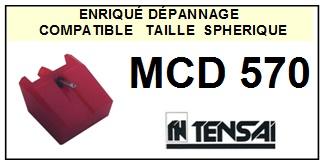 TENSAI MCD570 MCD-570 <br>Pointe diamant sphérique pour tourne-disques (stylus)<SMALL> 2015-12</SMALL>