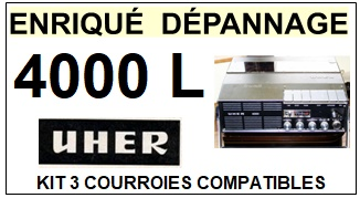 UHER 4000L  <br>kit 3 courroies pour magnétophone (<b>set belts</b>)<small> 2018 MARS</small>
