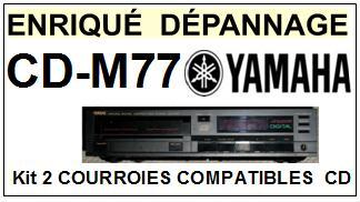 YAMAHA CDM77 CD-M77 <BR>kit 2 Courroies pour platine cd (<b>set belts</b>) <small> 2016-01</small>