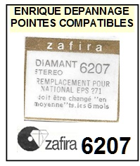 ZAFIRA 6207 (national eps270 eps271 eps290 eps52) <br>Pointe Diamant <b>sphérique</b> (sphérical stylus)<small> mars-2017</small>